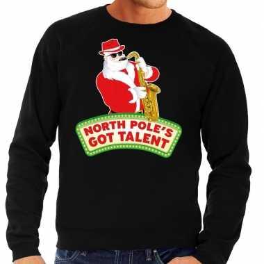 Foute kersttrui zwart north poles got talent heren shirt