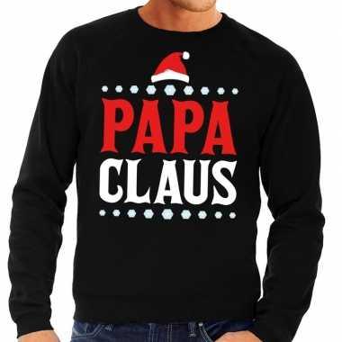 Foute kersttrui zwart papa claus heren shirt