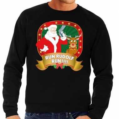 Foute kersttrui zwart run rudolf run heren shirt