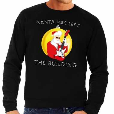 Foute kersttrui zwart santa has left the building heren shirt