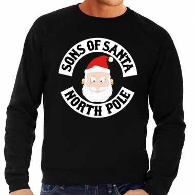 Foute kersttrui zwart sons of santa heren shirt