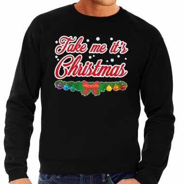 Foute kersttrui zwart take me its christmas heren shirt
