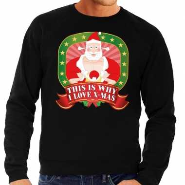 Foute kersttrui zwart this is why i love christmas heren shirt