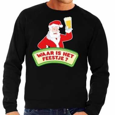 Foute kersttrui zwart waar is feestje heren shirt