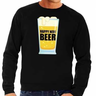 Foute oud nieuw trui / sweater happy new beer zwart heren shirt