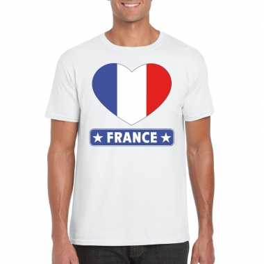 Frankrijk hart vlag t shirt wit heren