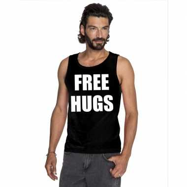 Free hugs tekst singlet shirt/ tanktop zwart heren