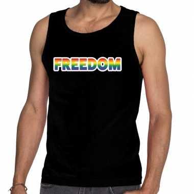 Freedom gay pride tanktop/mouwloos shirt zwart heren
