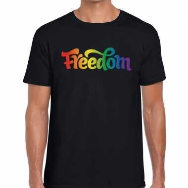Freedom gaypride shirt zwart heren