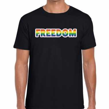 Freedom regenboog gaypride shirt zwart heren