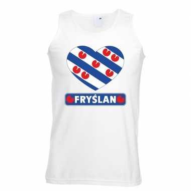Friesland hart vlag singlet-shirt tanktop wit heren
