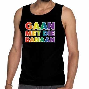 Gaan die banaan gaypride tanktop zwart heren shirt