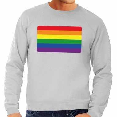 Gay pride regenboog vlag sweater grijs heren shirt