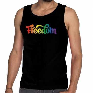 Gaypride freedom tanktop/mouwloos shirt zwart heren