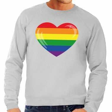 Gaypride regenboog hart sweater grijs heren shirt