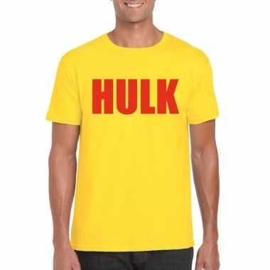 Gele hulk t shirt rode letters heren