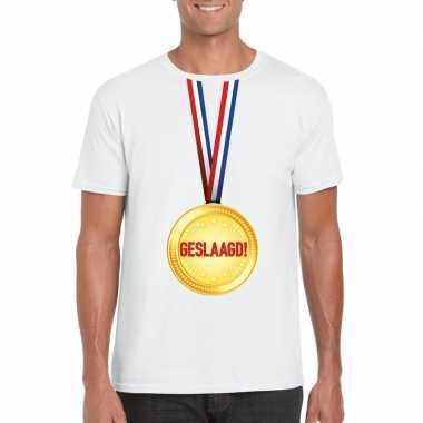 Geslaagd medaille t shirt wit heren