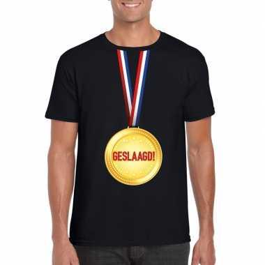 Geslaagd medaille t shirt zwart heren
