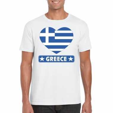 Griekenland hart vlag t shirt wit heren