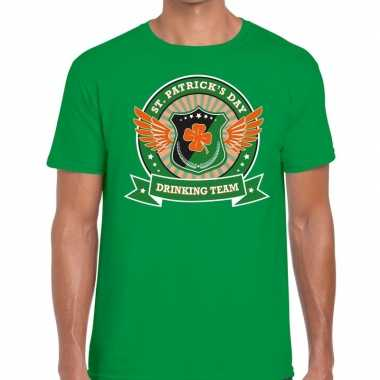 Groen st. patricks day drinking team t shirt heren