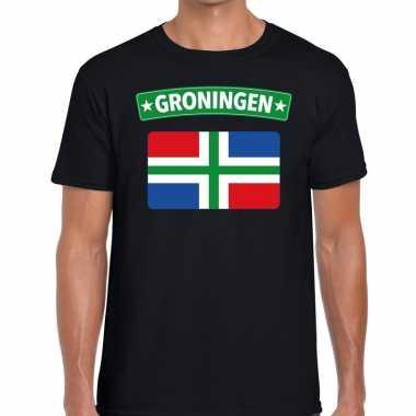 Groningen vlag t shirt zwart heren