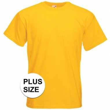 Grote maten basic geel t shirt heren