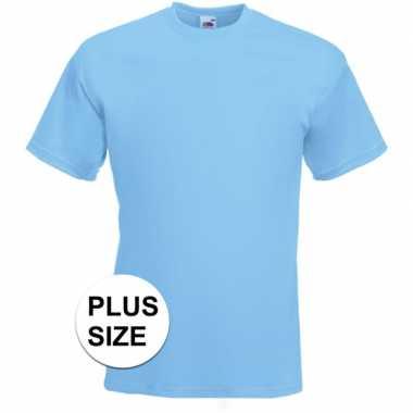 Grote maten basic licht blauw t shirt heren