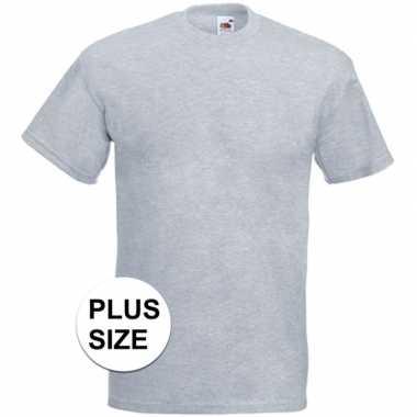 Grote maten basic licht grijs t shirt heren