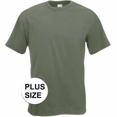 Grote maten basic olijf groen t shirt heren