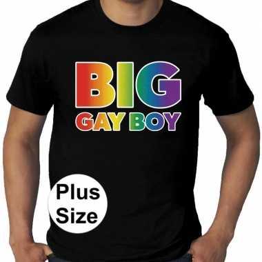 Grote maten big gay boy regenboog gay pride t shirt zwart heren