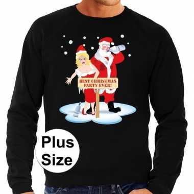 Grote maten foute kersttrui best christmas party zwart heren shirt
