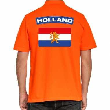 Grote maten holland supporter poloshirt oranje heren