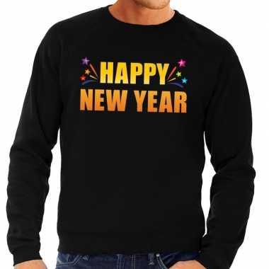 Happy new year trui/ sweater zwart heren shirt
