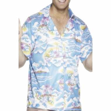 Heren blauw hawaii shirt