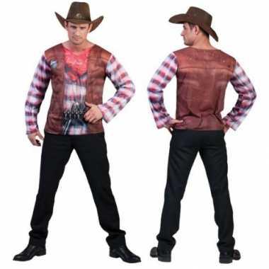 Heren cowboy shirt d print