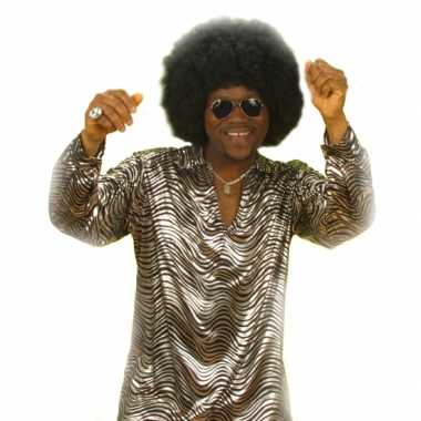 Heren  Disco fever shirt zilver