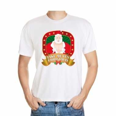 Heren foute kerst t shirt wit take me it's christmas