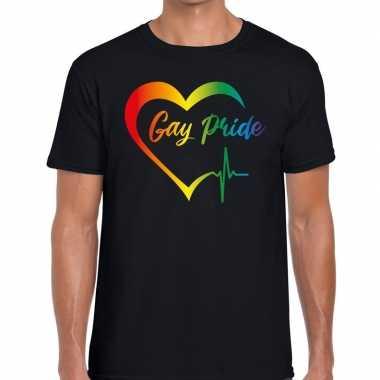 Heren gay pride kloppend hart regenboog gaypride shirt zwart here