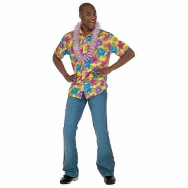 Heren gele hawaii blouse shirt