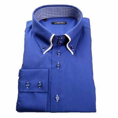 Heren giovanni capraro overhemd blauw shirt