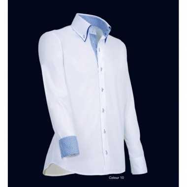 Heren giovanni capraro overhemd wit blauwe shirt