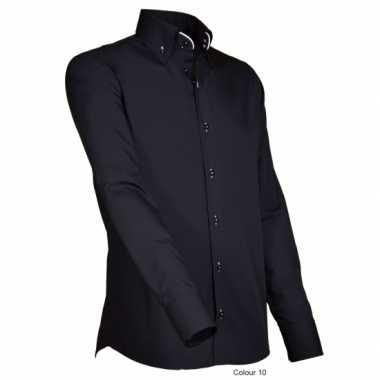 Heren giovanni capraro overhemd zwart shirt