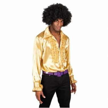 Heren  gouden rouches blouse shirt