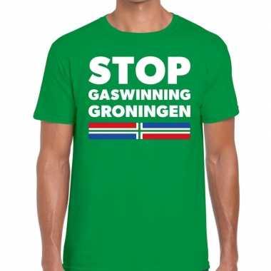 Heren groningen protest t shirt stop gaswinning groningen groen h