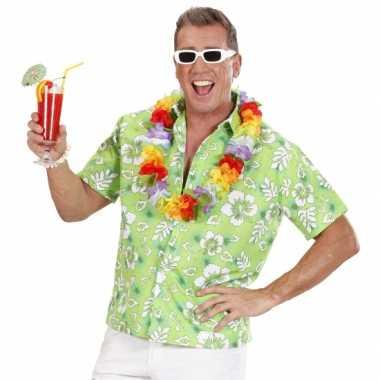 Heren hawaii blouse groen witte bloemen shirt