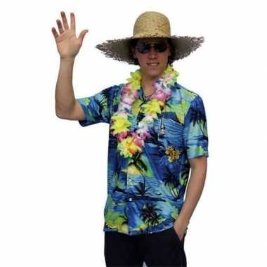 Heren  Hawaii shirt blauw palmbomen