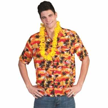 Heren hawaii shirt rood/oranje