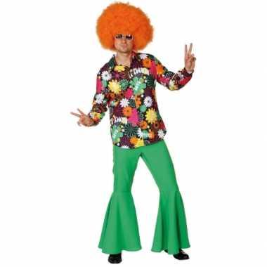 Heren hippie overhemd bloemen shirt