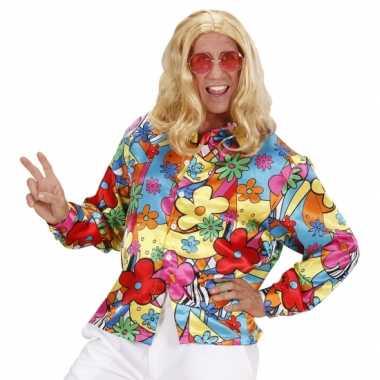 Heren hippie shirt bloemen