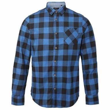 Heren houthakkers overhemd blauw zwart shirt